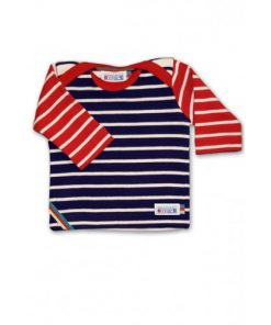 Breton Stripe Baby Newborn Streepjes Shirt Bordeaux-Natural