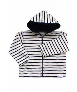 Breton Stripe Baby Streepjes Hoodie Ecru-Navy