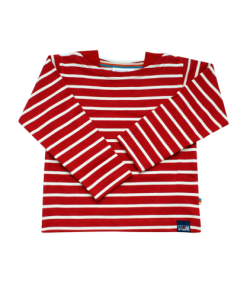 Breton Stripe Baby Streepjes Shirt Bordeaux-Natural