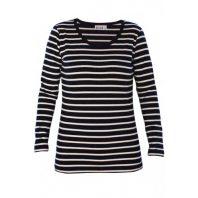 Breton Stripe Dames Streepjes Shirt Stretch Navy-Natural