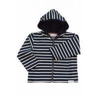 Breton Stripe Kinderen Streepjes Hoodie Navy-Natural