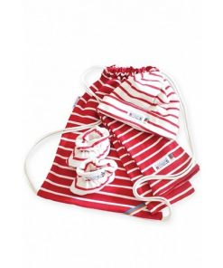 Breton Stripe Newborn Birth Gift Bordeaux-Natural