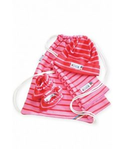 Breton Stripe Newborn Birth Gift Fuchsia-Red