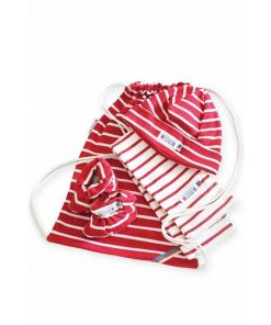 Breton Stripe Newborn Birth Gift Natural-Bordeaux