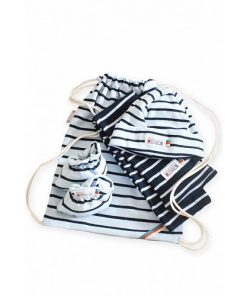 Breton Stripe Newborn Birth Gift Navy-Skyblue