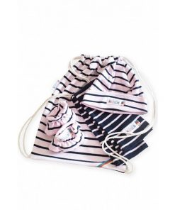 Breton Stripe Newborn Birth Gift Pink-Navy