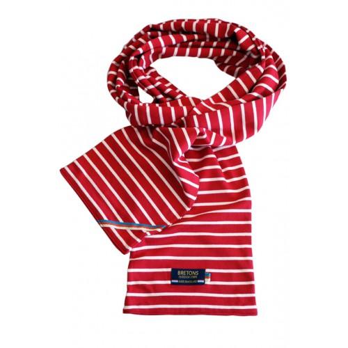 Breton Stripe Streepjes Sjaal Bordeaux-Natural