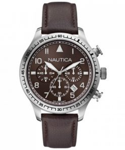 Nautica Heren Horloge BFD 105 Chrono 44 mm Bruin Oud Model SALE