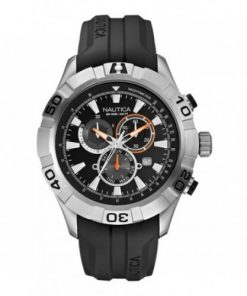 Nautica Heren Horloge NST 550 Chrono 47 mm Zwart Oud Model SALE