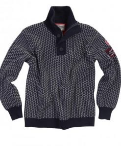 Holebrook Heren Trui Vinga Pattern Windproof Blauw:Ecru
