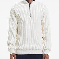 Holebrook Heren Trui Windproof Zipper Off White2